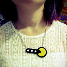 NeW~RETRO PACMAN 80s NECKLACE~1980s Acrylic Pendant~Video Game~Girl Gamer Geek