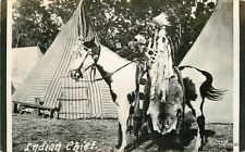 1940s Indian Chief Mounted Horse Teepee RPPC Real Photo postcard 2565