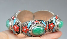 1China Tibet beautiful handmade cloisonne silver inlaid jade red flower bracelet