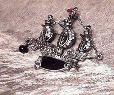 BLACK PIRATE SHIP BROOCH tall boat rhinestone silver nautical steampunk pin 2W