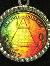 """Egyptian Pyramid Coin Charm Tibetan Silver with 18"""" Necklace"""