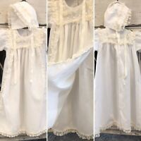 Vintage Christening Baptism Off White Gown Bonnet Infant 3 Months Lace ~  Alexis