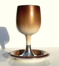 Kiddush Cup & Plate Shabbat Shabbes, Passover Seder Pesah Judaica w/Two Colors