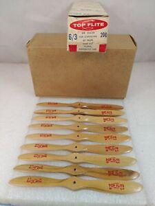 9 Vintage Top Flite 6x3 Wood Prop Propellers Original Box NOS (F1)