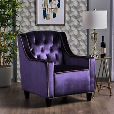 Milan Two Tone TUFTED Plum New Velvet Club Chair ArmChair