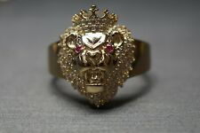 10K Solid Yellow Gold Lion Head King Crown Red Eyes With CZ Ring. Size 10