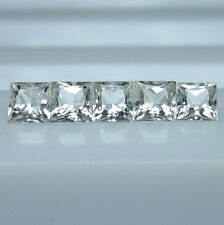 GENUINE MINED NATURAL WHITE  SAPPHIRE SQUARE PRINCESS CUT 2.6 MM. 5 PCS. *3723*