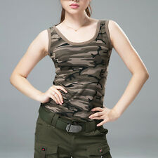 Lady Camouflage Vest Tank Top Tee T-shirt Thin Fit Sleeveless Cotton Hiking New