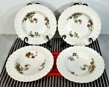"LOT of 4 SPODE Wicker Lane 73/4"" Rimmed Soup Bowls, Excellent Vintage Condition"