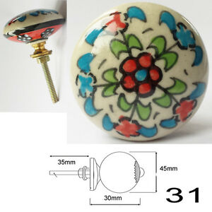 Blue Ceramic Door Knobs MIX & MATCH Vintage Shabby Handles Cupboard Drawer Pulls