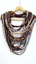 Autumn Shades Tribal Scarf Necklace Fabric Infinity Multistrand Scarf Polka Dots