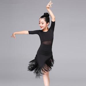 Kids Girls Jazz Latin Dance Costume Tasseled Competition Dress Dancing Top Skirt