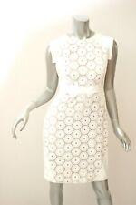 ADRIANNA PAPELL White Eyelet Ponte Dress 10P