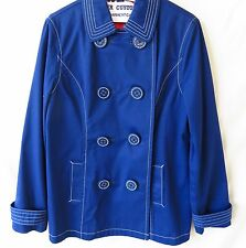 Boden Ladies Belted Jacket Double Breasted Blue Sailboat Lining Size 10 #4925