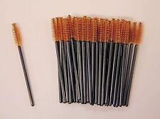 100x Disposable Brown Mascara Wands Eyelash Brush Applicator Spooler FREE POST