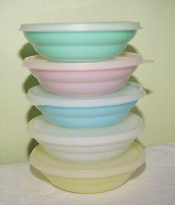 5 Vintage Tupperware Wonderlier Pastel Cereal Bowl 15.5cm