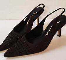 Nina black beaded satin slingback heels size 7.5