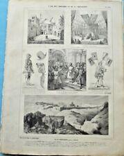 Antique Affiche 1864 l'Age des Croisades & de la Chevalerie Armure Casque Siloah