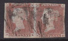 "1841 1d RED BROWN PLATE 80 PAIR "" NB - NC ""  USED MIXED MARGINS"