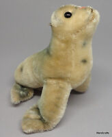 Steiff Robby Seal Speckled Mohair Plush 14cm 5in 1960s Vintage Glass Eyes no ID