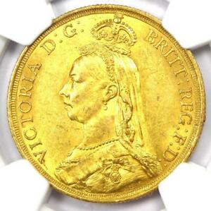 1887 Great Britain England Victoria 2 Gold Sovereign Coin 2S - NGC MS60 (UNC)