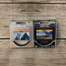 Hoya 58mm HMC UV(C) & Circular Polarising CIR-PL Filter With Cases Used