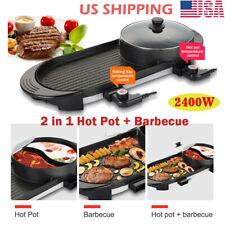 HOT Portable Electric 2 in1 Hot Pot Barbecue Grill Non Stick Teppanyaki Pan Soup