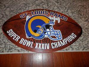St. Louis Rams football sign, new vtg Super Bowl XXXIV man cave sign NFL