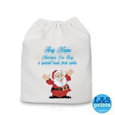 Personnalisé Neutre Père Noël Bleu Noël Eve Sac Stockage Sac Père Noël Cadeaux