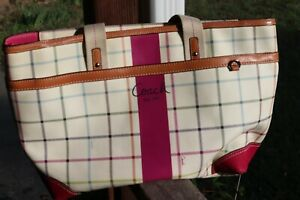 COACH Heritage Cream Plaid Logo Lined Organizer Diaper Bag Weekender Flawed