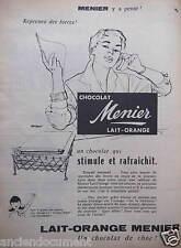 PUBLICITÉ 1955 CHOCOLAT MENIER LAIT ORANGE - ADVERTISING