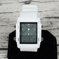 Men LCD Display Chronograph Quartz Sport Wristwatch Analog Digital Silicone Band