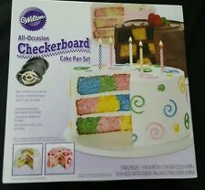 Wilton Checkerboard Birthday Cake Pan Set  All Occasions NEW