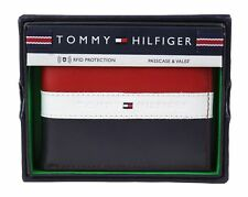 Authentic Tommy Hilfiger Men's Leather Wallet Passcase Billfold RFID Red Blue