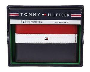 Genuine Tommy Hilfiger RFID Leather Wallet Billfold Red Blue Free Express Post