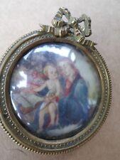 PEINTURE-Miniature-Vierge à l'enfant-XIXe-cadre bronze-painting