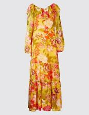 SIZE 14 PER UNA RUFFLED MAXI DRESS MARKS AND SPENCER