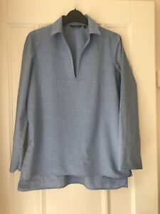 Massimo Dutti Denim Blue Cotton Tunic Blouse Size Eur S