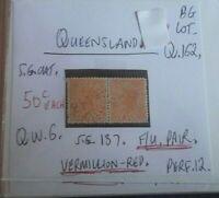 QUEENSLAND QUEEN VIC 1d VERMILLION-REP G.U. PAIR STATE STAMP