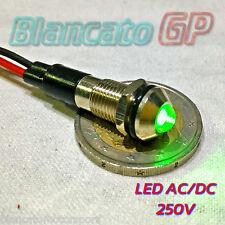 "SPIA LED VERDE 220V AC METALLO ""TONDO"" 8mm corrente alternata casa illuminazione"