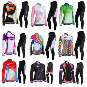 Women's Long Sleeve Cycling Clothing Set Bicycle Wear Suit Jersey Padded Pants