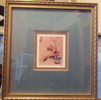 """Japanese Art: Flower's Picture Framed 14"""" x 14.5"""""""