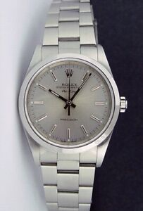 ROLEX  34mm Stainless Steel Air King Silver Index 14000 SANT BLANC