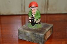 Irish Connemara Marble Souvenir with Cobbler, Dwarf? Gnome Leprechaun Vintage
