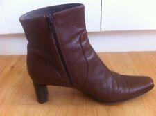Ladies Dark Brown Leather MILANA Boots  AUS Size 9 EU 40 Block Heels Mid Calf