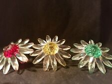 Swarovski crystal figurines three flowers red yellow and green