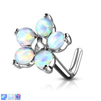 1pc Five Opal Petals Flower 20g L-Bend Nose Ring Stud Screw 316L Surgical Steel