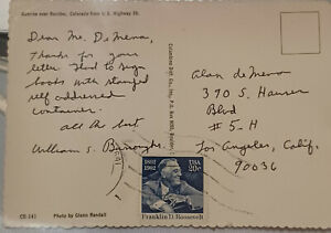 WILLIAM S. BURROUGHS - HANDWRITTEN & SIGNED POSTCARD  RARE!! NAKED LUNCH QUEER B