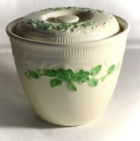"""Homer Laughlin Green Embossed Oven Serve 4 1/4"""" Bean Pot With Lid"""