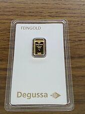 1 Gramm DEGUSSA Gr. Gold Barren 999,9 Feingold GOLD